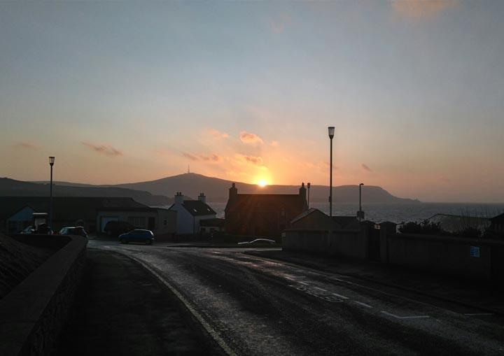 Sunset over the Shetland hills